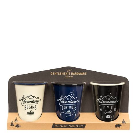 Gentlemen's Hardware Set of 3 Enamel Tumblers