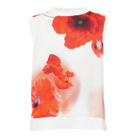 Ted Baker White Maidai Playful Poppy Woven Top