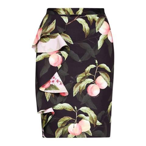 Ted Baker Black Blayyke Peach Blossom Ruffle Midi Skirt
