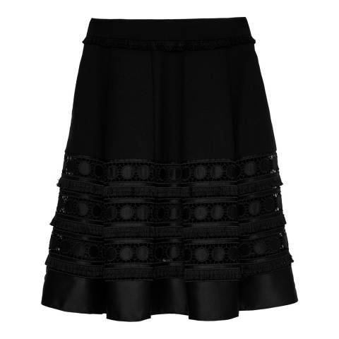 Ted Baker Black Laccey Circle Lace Panel Skirt