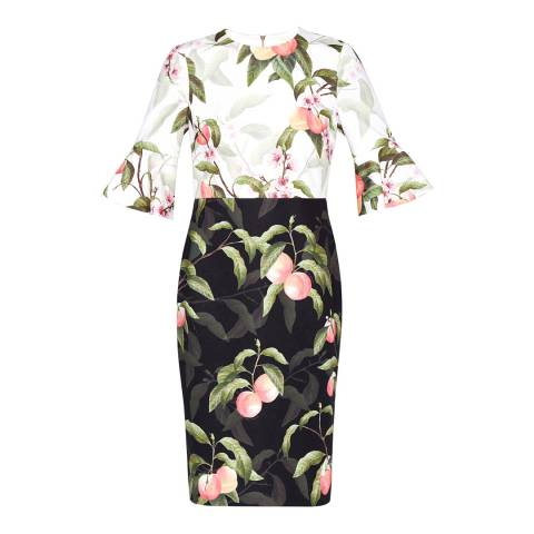 Ted Baker Black Peach Areea Blossom Fluted Sleeve Dress