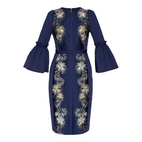 Ted Baker Dark Blue Jeeane Stardust Midi Dress