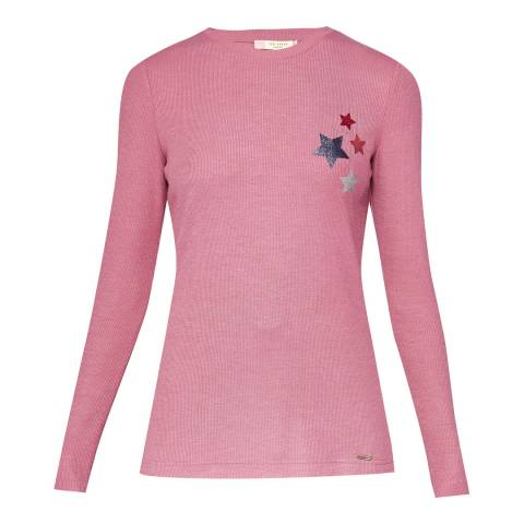 Ted Baker Nude Pink Cora Ribbed Top With Lurex Stars