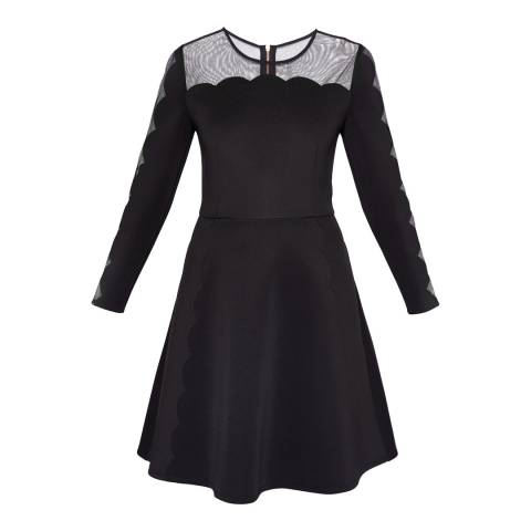 Ted Baker Black Kikoh Mesh Panelled Skater Dress
