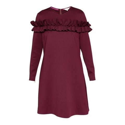 Ted Baker Oxblood Zufara Ruffle Bodice Tunic Dress