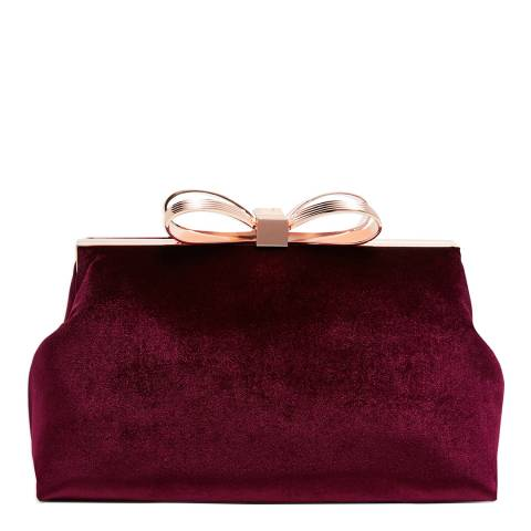 Ted Baker Oxblood Cena Statement Bow Evening Bag