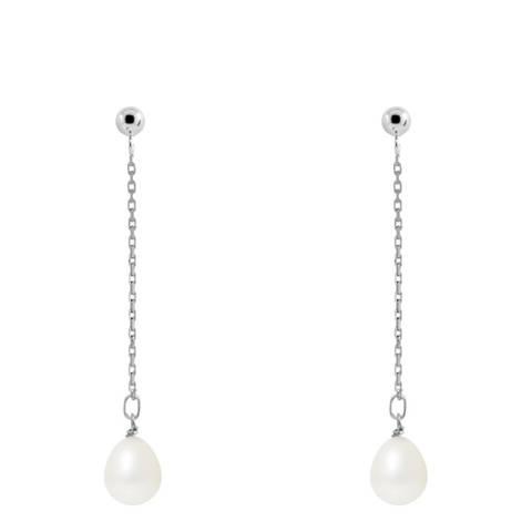 Just Pearl Natural White Drop Pearl Earrings 7-8mm