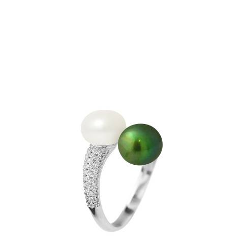 Just Pearl Natural White / Malachite Green Pearl Ring 7-8mm