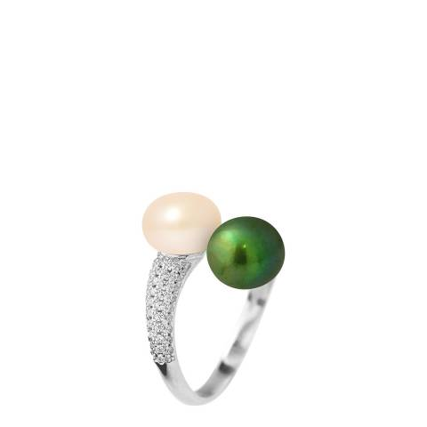 Just Pearl Natural Pink / Malachite Green Pearl Ring 7-8mm