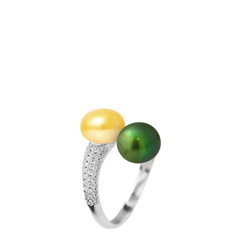 Just Pearl Golden Yellow / Malachite Green Pearl Adjustable Ring 7-8mm