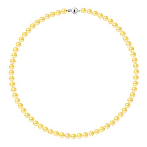 Just Pearl Golden Yellow Row Of Pearls Necklace 6-7mm