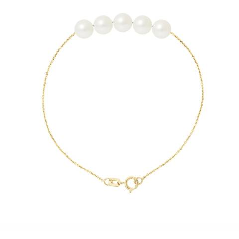 Just Pearl Natural White Five Pearl Bracelet 6-7mm