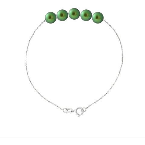 Just Pearl Malachite Green Five Pearl Bracelet 6-7mm