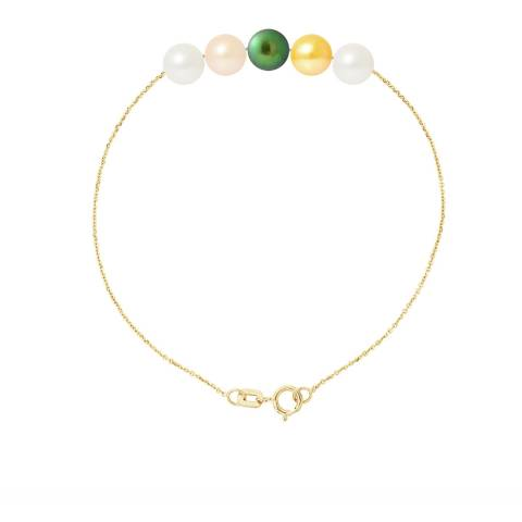 Just Pearl Multi-Coloured Five Pearl Bracelet 6-7mm