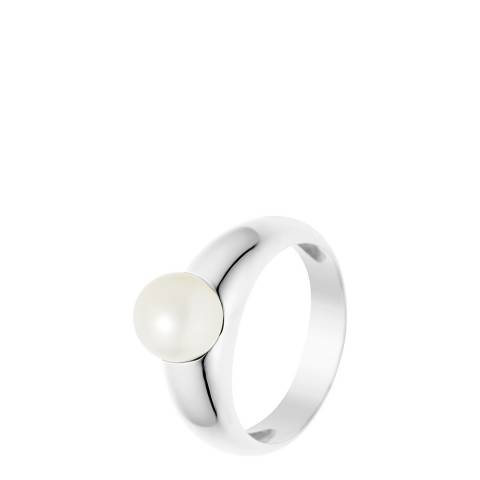 Just Pearl Natural White Convex Pearl Ring 8-9mm
