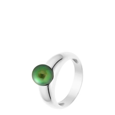 Just Pearl Malachite Green Convex Pearl Ring 8-9mm