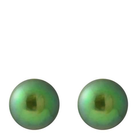 Just Pearl Malachite Green Pearl Button Earrings 8-9mm