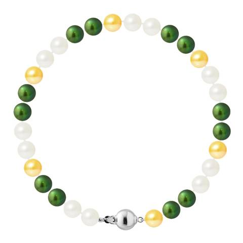Just Pearl Multi-Coloured Row Of Pearls Bracelet 6-7mm