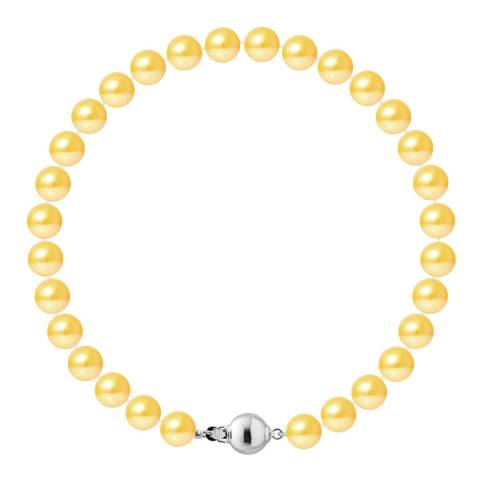 Just Pearl Golden Yellow Row Of Pearls Bracelet 6-7mm