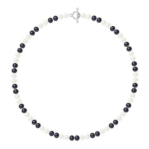 Just Pearl Tahiti Black / White Row Of Pearls Necklace 6-7mm