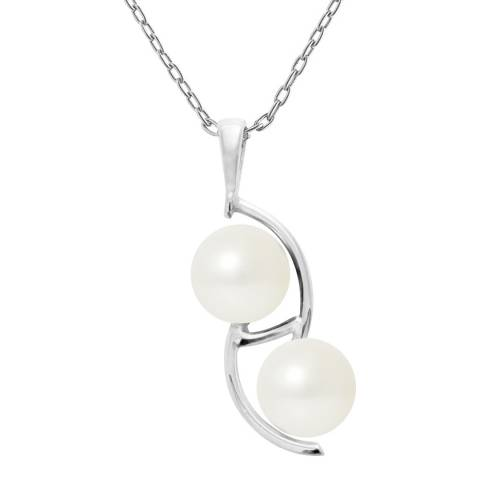 Just Pearl Natural White Duo Pearl Necklace 9-10mm
