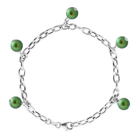 Just Pearl Malachite Green Pearl Charm Bracelet 7-8mm