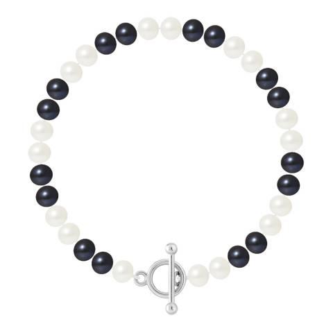 Just Pearl Tahiti Black / White Row Of Pearls Bracelet 6-7mm