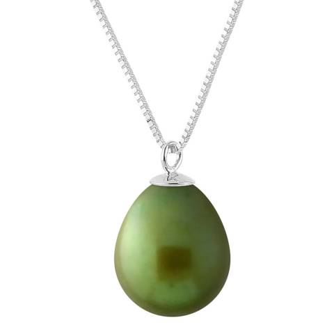 Just Pearl Malachite Green Pearl Pendant Necklace 9-10mm
