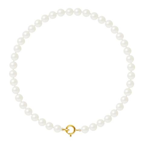 Just Pearl Natural White Row Of Pearls Bracelet 4-5mm