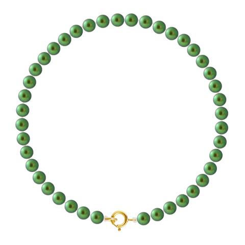 Just Pearl Malachite Green Row Of Pearls Bracelet 4-5mm