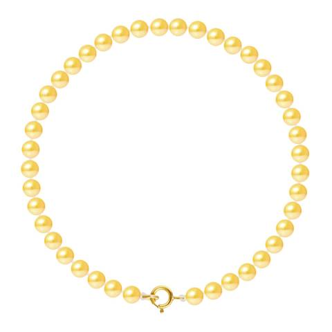 Just Pearl Golden Yellow Row Of Pearls Bracelet 4-5mm