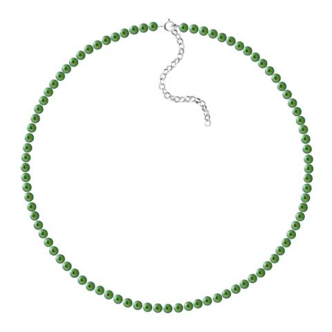 Just Pearl Malachite Green Row Of Pearls Necklace 4-5mm