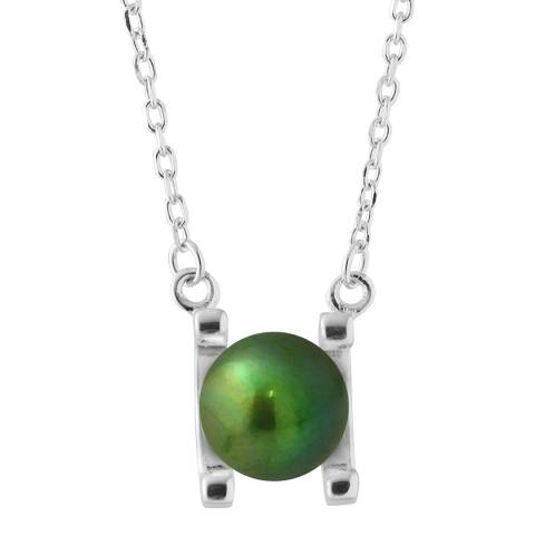 Just Pearl Malachite Green Round Pearl Necklace 7-8mm