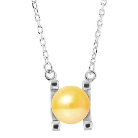 Just Pearl Golden Yellow Round Pearl Necklace 7-8mm