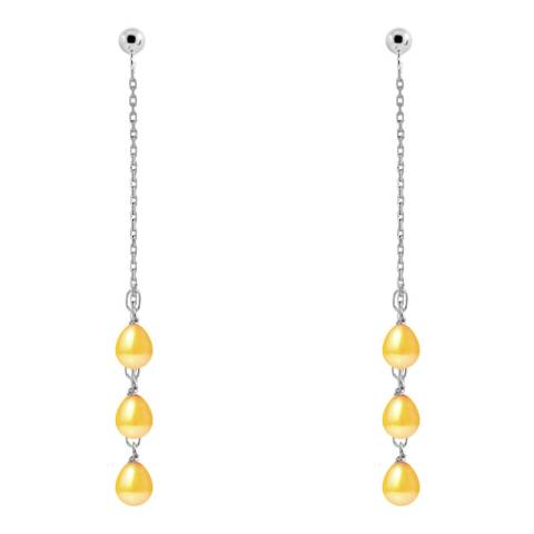 Just Pearl Golden Yellow Pearl Earrings 5-6mm