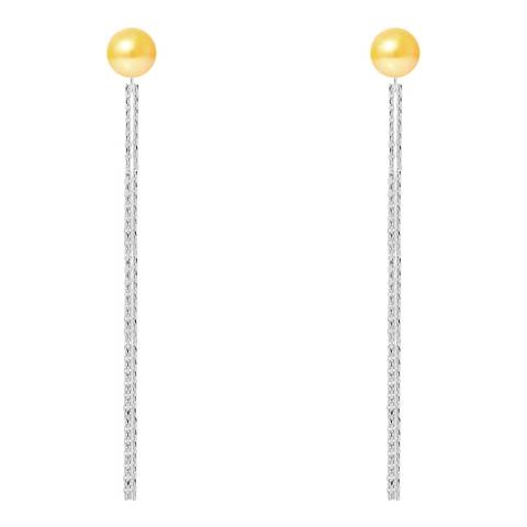 Just Pearl Golden Yellow Pearl Earrings 6-7mm