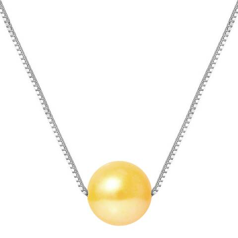 Just Pearl Golden Yellow Pearl Necklace 9-10mm