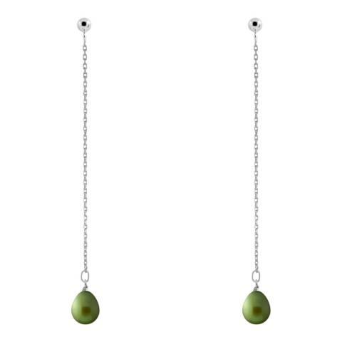 Just Pearl Malachite Green Pearl Earrings 7-8mm