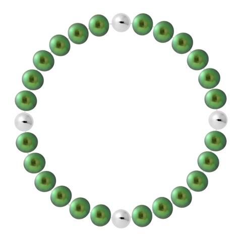 Just Pearl Malachite Green Half Round Pearl Bracelet 7-8mm