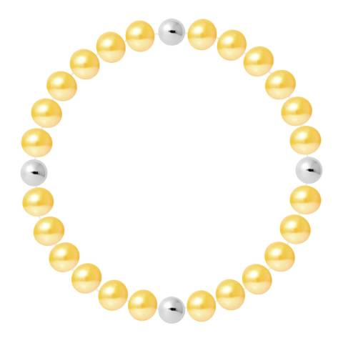 Just Pearl Golden Yellow Half Round Pearl Bracelet 7-8mm