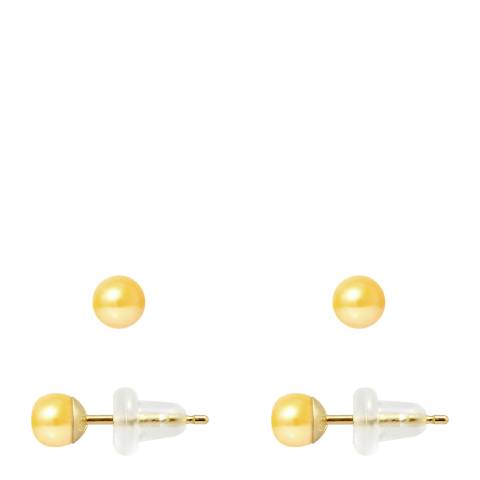 Just Pearl Golden Yellow Pearl Button Earrings 4-5mm