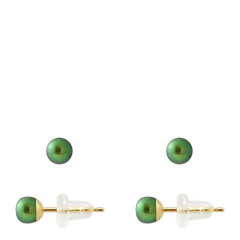Just Pearl Malachite Green Pearl Button Earrings 4-5mm