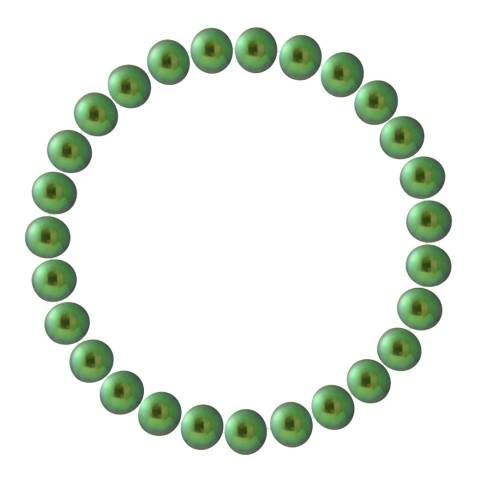 Just Pearl Malachite Green Half Round Pearl Bracelet 7-8mm