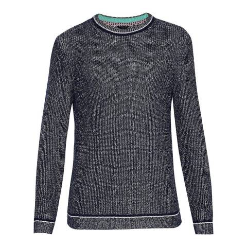Ted Baker Navy Cotton Roknrol Plaited Rib Crew Neck Jumper