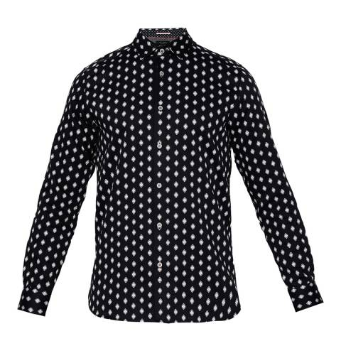 Ted Baker Navy Cotton Mineral Geometric Print Shirt