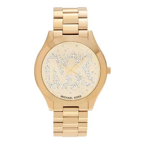 Michael Kors Women's Gold Slim Runway Crystal Watch 39mm