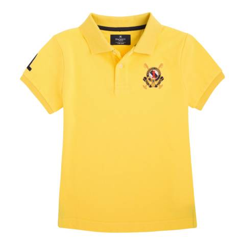 Hackett London Yellow  Solid Crest Cotton Polo Youth