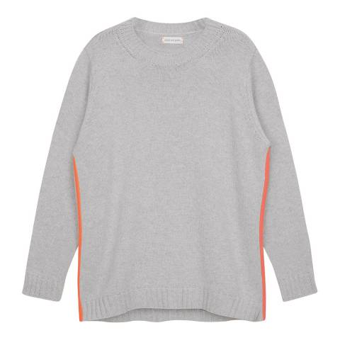 Chinti and Parker Silver Marl/ Fluro Pink Zip Side Sweater