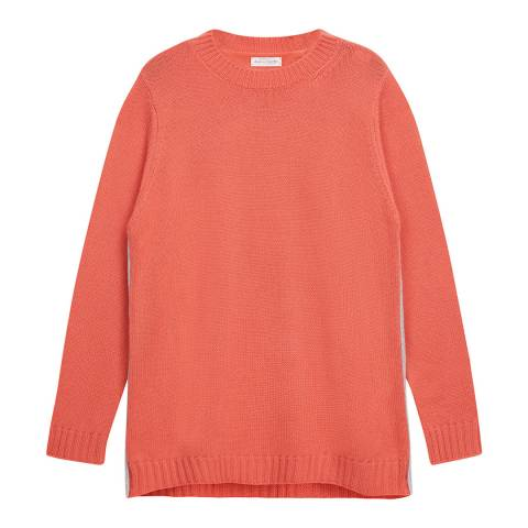 Chinti and Parker Tea Rose/Silver Marl Zip Side Cashmere Sweater