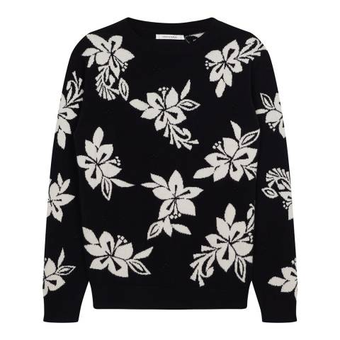 Chinti and Parker Black/ Cream Cashmere Hibiscus Knit Stitch Sweater